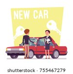 new car buying. young man... | Shutterstock .eps vector #755467279