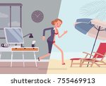 woman leaps to vacation. tired  ... | Shutterstock .eps vector #755469913