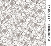 oranges  sketch.pattern... | Shutterstock . vector #755470528