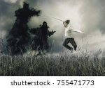 man fighting with sword against ... | Shutterstock . vector #755471773