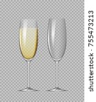 transparent champagne glasses.... | Shutterstock .eps vector #755473213