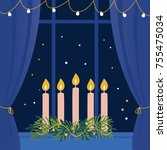 christmas advent wreath with...   Shutterstock .eps vector #755475034