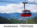 Red Car Of The Aerial Tramway...