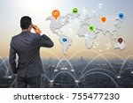business connection concept. | Shutterstock . vector #755477230