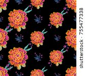 vintage marigold and embroidery ... | Shutterstock .eps vector #755477338