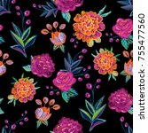 vintage floral embroidery... | Shutterstock .eps vector #755477560