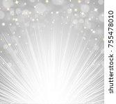 silver sunburst background  | Shutterstock . vector #755478010