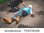 emergency cpr and pulse... | Shutterstock . vector #755478100
