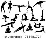 Stock vector silhouettes of slim girl practicing yoga stretching exercises shapes of woman doing yoga fitness 755481724