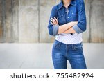 closeup woman casual outfits... | Shutterstock . vector #755482924