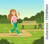 cute smiling girl eating ice... | Shutterstock .eps vector #755484664