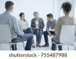 man talking to a... | Shutterstock . vector #755487988