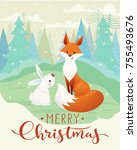 cute vector merry christmas... | Shutterstock .eps vector #755493676