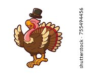 illustration of turkey for... | Shutterstock .eps vector #755494456