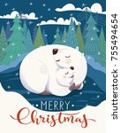 vector christmas card with... | Shutterstock .eps vector #755494654