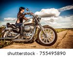 Russia July 7  2013  Biker Gir...