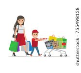 family out on shopping. mother... | Shutterstock . vector #755498128