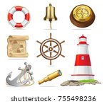 marine attributes set of... | Shutterstock . vector #755498236