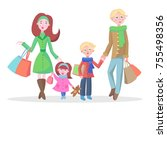 family shopping banner. young... | Shutterstock . vector #755498356