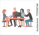 smiling people sitting at table ... | Shutterstock . vector #755500768
