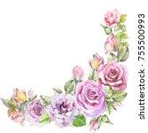 flowers corner with watercolor... | Shutterstock . vector #755500993