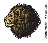 mighty lion head mascot logo... | Shutterstock .eps vector #755501830