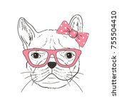french bulldog  hand drawn... | Shutterstock .eps vector #755504410