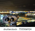 Small photo of TOKYO - OCTOBER 14, 2017 - 22.08: Haneda, Tokyo International Airport observation deck. Has coin-operated binoculars for tourist to observe the plane.