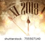 2018 new year shining... | Shutterstock .eps vector #755507140