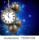 2018 new year blue background... | Shutterstock .eps vector #755507158