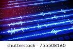 digital audio waves on computer ... | Shutterstock . vector #755508160