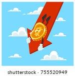the fallen in price bitcoin... | Shutterstock .eps vector #755520949