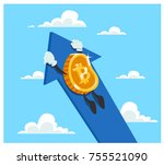 bitcoin flying up on the sky... | Shutterstock .eps vector #755521090