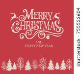 merry christmas and happy new...   Shutterstock .eps vector #755523604