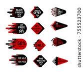 sale sticker set with hand...   Shutterstock .eps vector #755523700