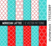 Turquoise Red Moroccan Lattice...