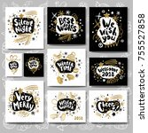 merry christmas happy new tags... | Shutterstock .eps vector #755527858