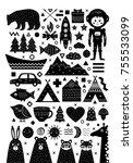 monochrome set of elements in... | Shutterstock .eps vector #755533099