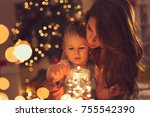 beautiful young mother and... | Shutterstock . vector #755542390