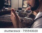 serene bearded man enjoying... | Shutterstock . vector #755543020