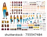 hipster girl creation kit. set... | Shutterstock .eps vector #755547484