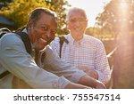 portrait of two male senior... | Shutterstock . vector #755547514