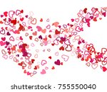 red valentine's day scatter of...   Shutterstock .eps vector #755550040
