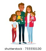 afro american family with kids | Shutterstock .eps vector #755550130