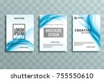 abstract blue wave business... | Shutterstock .eps vector #755550610