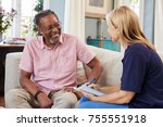 female support worker visits... | Shutterstock . vector #755551918