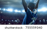 soccer player is celebrating... | Shutterstock . vector #755559340
