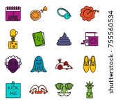 april fools dayicons set.... | Shutterstock .eps vector #755560534