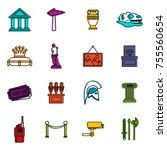 museum icons set. doodle... | Shutterstock .eps vector #755560654