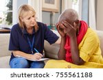 support worker visits senior... | Shutterstock . vector #755561188